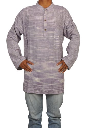 Designed Mens Casual Khadi Cotton Short Kurta Fabric For Winter & Summers Size-4XL