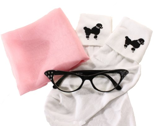 50s Set - Poodle Bobby Socks, Chiffon Scarf & Cat Eye Glasses - Hey Viv !