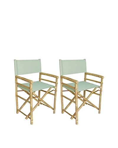 ZEW, Inc. Set of 2 Bamboo Director Chairs, Celadon