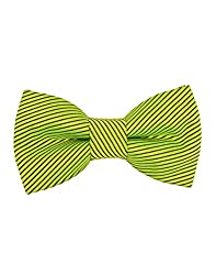 Tiekart Green Striped Men Bow Ties