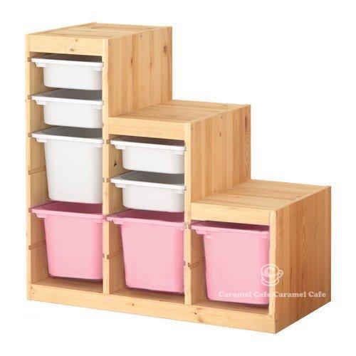 IKEA TROFAST(トロファスト)収納コンビネーション パイン材 ホワイト/ピンク 94x44x91 cm PK-WS4WM1P3