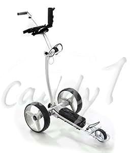 Elektro Golf Trolley CADDYONE 750 silber mit Funkfernbedienung und Lithium-Akku