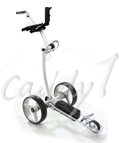 Design-Elektro-Golf-Trolley CADDYONE 700 Silber mit Lithium-Akku