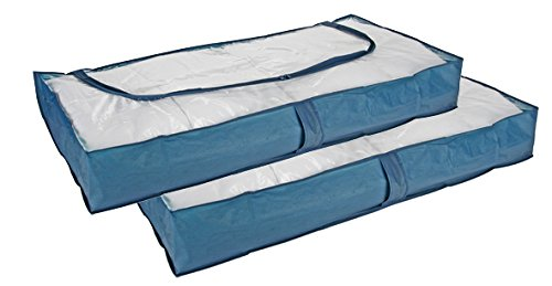 Lot de 2 housse de rangement à glisser sous le lit bleu 103 cm