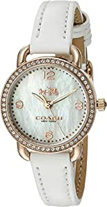 COACH Women's Delancey 28mm Leather Watch White