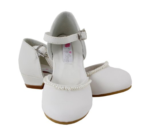 Mary Jane Party Shoes With Faux Pearls For Little Kids (Ivory, Little Kid 11) front-36725