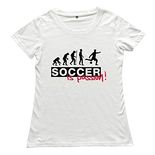 Hoxsin White Women'S Soccer Passion Nerd Casual Shirts Us Size Xxl