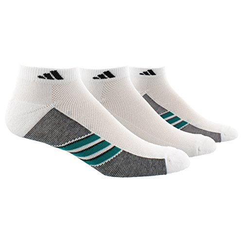 Adidas Mens Superlite 3-Pack Low Cut Sock, White/Eqt Green/Black, Large