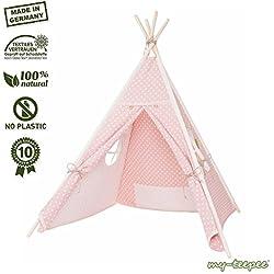 Spielzelt für Kinder,schadstofffreies Material, Holzstangen Aspe natur, Bezug 100 % Baumwolle Ökotex 100, Höhe ca. 150 cm, mit verschließbarem Fenster, rosa mit weißen Punkten