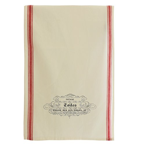 Cotons Coiles Petite Rue Aux Toiles Vintage Look Cotton Retro Stripe Dish Kitchen Towel Red Stripe (Red Toile Dishes compare prices)