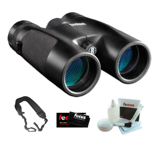 Bushnell 141042C Powerview 10X42Mm Roof Prism Clam Binocular + Zeikos Wide Strap + Accessory Kit
