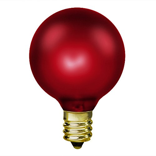 15W Luminescent Ruby Red - G16.5 - Candelabra Base - 130V 1500 Life Hours - Amusement Light Bulb - Antique Light Bulb Co. L1898 (Antique Light Bulb Co compare prices)