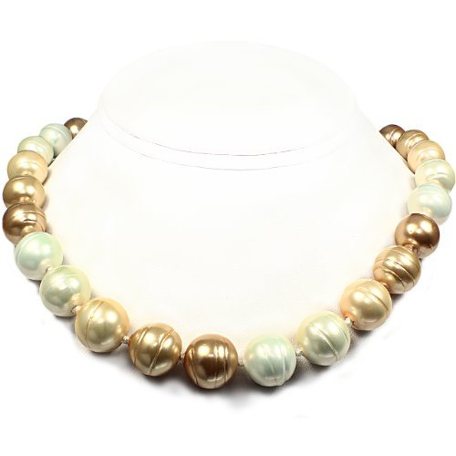 Mother of Pearl Necklace - High Polished-Ridged Circled- White, CreamRose & Gold (14mm)