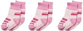 Playshoes Unisex - Baby Socken 3 Paar Kinder Abs Söckchen, Anti-Rutsch-Socken, Gr. One Size (Herstellergröße: 17/18), Rosa