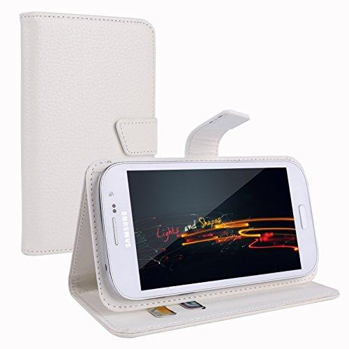 """Weiss Leder Schutzhülle Tasche Case Cover Etui Kartenfach universal für 4.5-5"""" Handy Wiko Rainbow; Wiko Lenny/ Getaway/ 9401 Highway/ DARKFULL; Mobistel Cynus T2/ T5/ F6/ F5; Samsung GALAXY S5 G900; Acer Liquid Z5 5 Zoll; Alcatel One Touch Pop C7;ARCHOS 45 Platinum/ 50 Helium/ 50 Neon/ 50 Oxygen/ 50 Platinum/ 50 Titanium/ 50c Oxygen; Cubot 5; CUBOT P6 5"""" ; CUBOT P9 5.0/ S208 5""""""""/ X6 5,0 IPS ;ZOPO ZP1000; DOOGEE DG300; HTC DEsire 510/ 516/ 610/ X920e Butterfly; Huawei Ascend G610/ Honor 3C"""