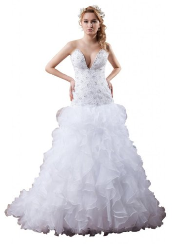 bd3fc883e2ac Orifashion White Beaded Drop Waist Ruffle Organza Wedding Dress BWGHER0266,  US Size 8