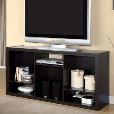 Monarch Specialties Hollow-Core TV Console or Bookcase, 56-Inch Length, Cappuccino