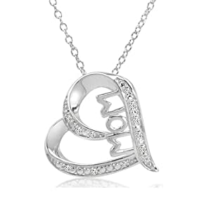 Mom in Heart Diamond Pendant Necklace in Sterling Silver on an 18 inch Chain by Amanda Rose Collection