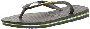 Havaianas Men's Brasil Logo Black Flip Flops Sandals 43/44