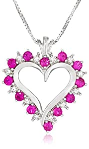 """Sterling Silver Created Ruby and White Cubic Zirconia Heart Pendant Necklace , 18"""""""