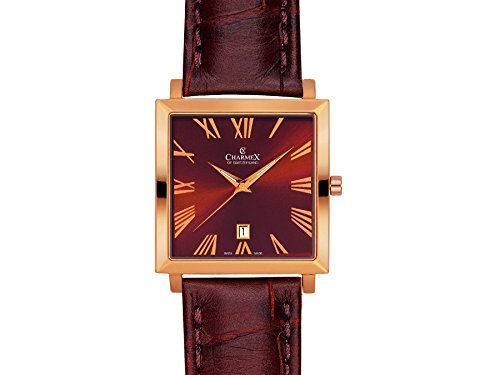 Charmex Basel 2267 35x35mm Gold Plated Stainless Steel Case Brown Calfskin Synthetic Sapphire Men's Watch
