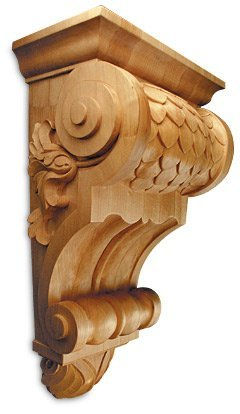 "White River 24 Inch Long 14"" Wide Corbel Wood Bracket Lindenwood Item # Crv5226Lw Imbricated X-Large front-239209"