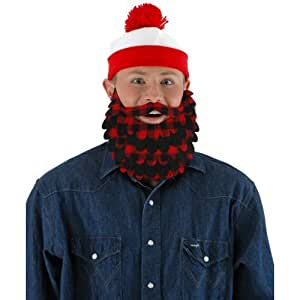 Elope - Red & Black Flannel Lumberjack Beard Adult