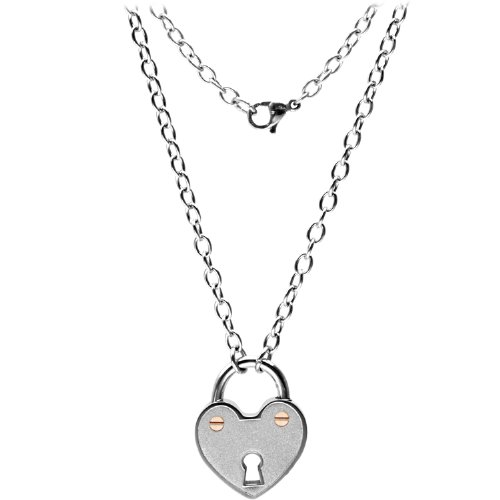 Inox Jewelry Women's 316L Stainless Steel Lock Rose Gold Necklace