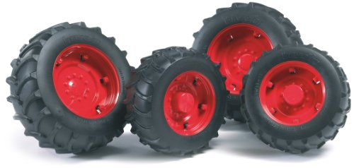 Bruder Twin Tires with Rims for 02000 Series Tractor, Red
