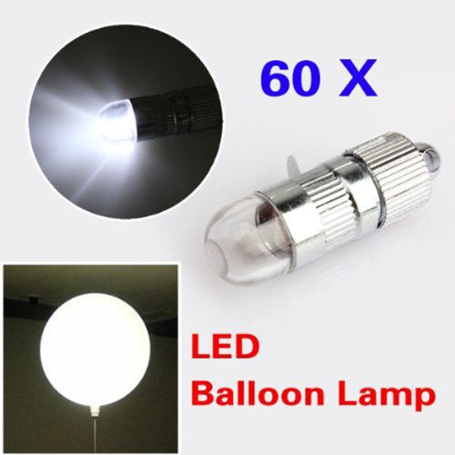Foxnovo Novelty Led Light-Up Balloon Light Led Inflatable Balloon Lamp For Wedding /Parties /Festival - 60 Pcs/Set (White Light)