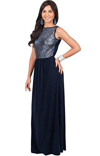 KOH KOH Plus Size Womens Long Sleeveless Party Cocktail Special Evening Gown Maxi Dress, Color Silver & Navy Blue, Size 3X Large / 3XL / 22-24