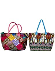 IndiWeaves Combo Offer Women's Multicolor Cotton Handbag (Combo Pack Of 2) - B01IVWGW96