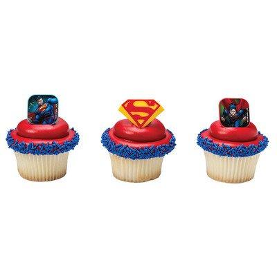 Superman Superhero Cupcake Topper Rings - Set of 12