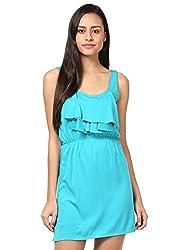 Grain Blue Polyester A-line Short dress for women