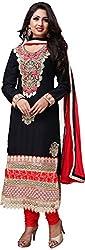 RADHE STUDIO Women's Cotton Un-Stitched Salwar Suit (RSOM-8004, Black)