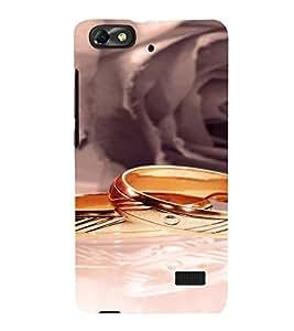 PrintVisa Gold Wedding Rings 3D Hard Polycarbonate Designer Back Case Cover for Huawei Honor 4C