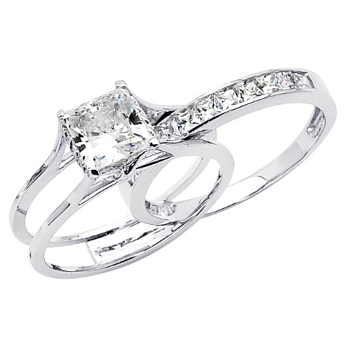 14k white gold princess cut cz cubic zirconia ladies solitaire engagement ring and wedding band 2 two piece set review - 2 Piece Wedding Rings