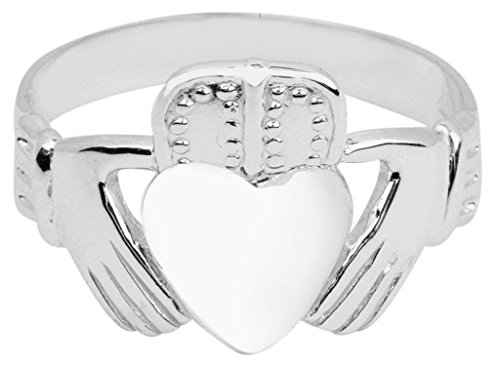 Men'S Solid 14K White Gold Classic Polished Band Irish Claddagh Ring (14.25)