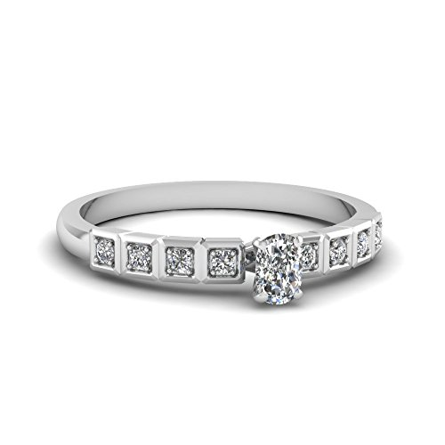 Fascinating Diamonds 1.30 Ct Cushion Cut Diamond Engagement Ring Pave Set Cut:Very Good Si2-H 14K Gia