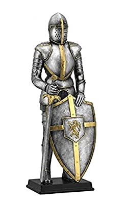 13 Inch Medieval Armor Figurine with Sword and Lion Crest on Shield