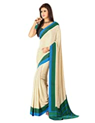 Inddus Women Beige & Green Color Printed Fashion Saree