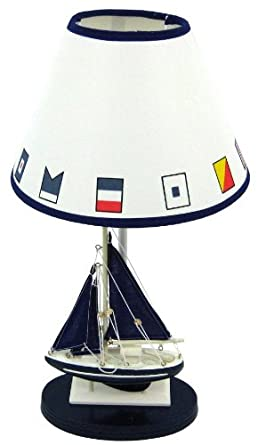 Blue Sailboat Boat Nautical Table Lamp with Shade