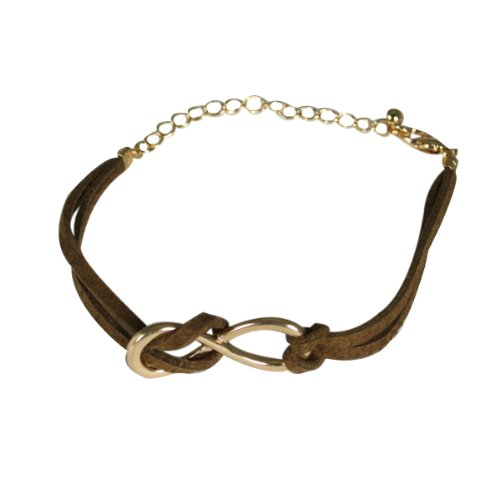 Wrapables Leather Infinity Bracelet, Brown