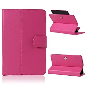 Wisedeal IKASEFU(TM) Univeral 360 roating degree slim fit Faux Leather Stand Case Cover For 7 inch Android Tablet PC (Hot pink) by IKASEFU