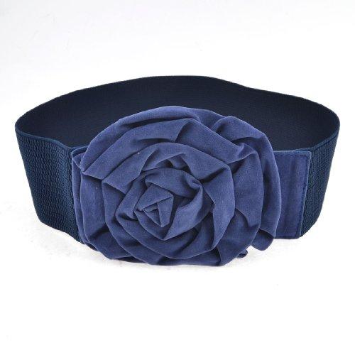 Woman Blue Single Pin Buckle Rose Decor Stretch Waist Cinch Belt