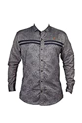 Zedx casual long sleeve Solid/plain single cuff Black-Grey shirt for Men's