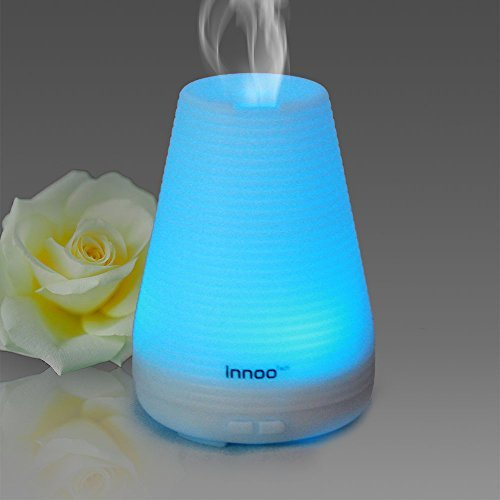 Innoo Tech Essential Oil Diffuser 100ml Aromatherapy Cool Mist Humidifier Aroma eBooks Included with Adjustable Mist Mode 7 Changing Color LED Lights Waterless Auto Shut-off for Home/Bedroom/Spa/Yoga