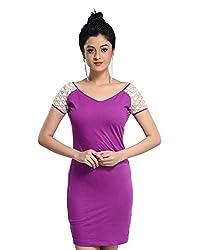 VeaKupia Women's Asymmetric Regular Fit Dress (Purple, 36)