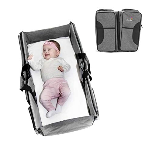 Primo Passi Nido 3 in 1 Portable Diaper Bag Travel Bassinet and Change Station Neutral Grey
