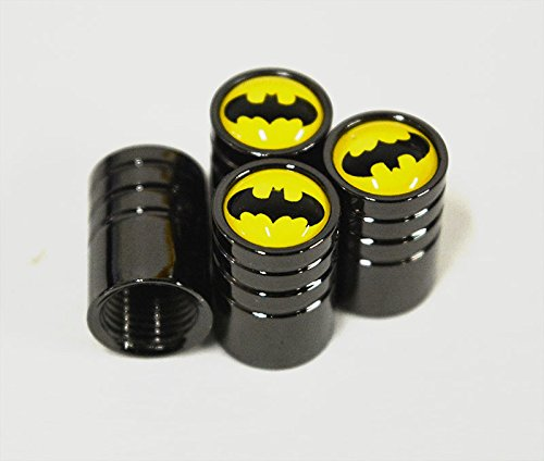 US85 Batman Black Chrome Auto Car Wheel Tire Air Valve Caps Stem Cover (Tire Cover Batman compare prices)